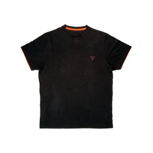 FOX T SHIRT BLACK ORANGE BRUSHED